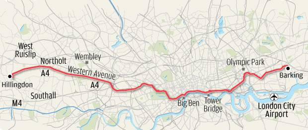 The proposed 'crossrail' cycle route map